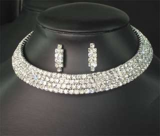 Wedding Bridal Bridesmaids Diamante Crystal Choker Necklace Earrings