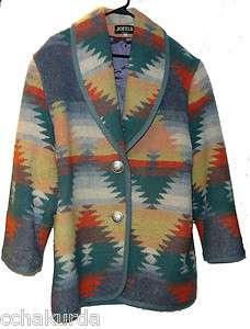 VTG JOFELD Southwestern Style Blanket Coat S Blue