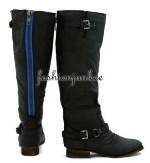 BLACK Colored Zipper Boots Faux Leather Rider Shoes 6