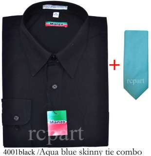 Mens Black Shirt & aqua blue skinny tie 16.536/37 L