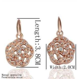 Z26 NEW 18K ROSE gold Gp Swarovski crystal earrings studs