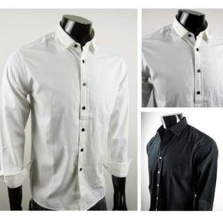 U1816 100% Cotto New Mens Casual Implicit strip Shirts Colour White