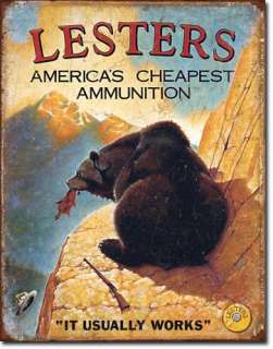 Lesters Ammo Americas Cheapest Ammunition Metal Tin Sign Great