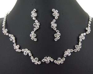 Rhinestone Jewelry Set Necklace & Earrings Wedding Bridal Bridesmaids