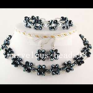 Black Bile Crystal Necklace Bracelet Earring Set H0313