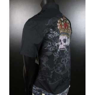 Mens REBEL SPIRIT WOVEN CROWNED CRYSTAL SKULL Button shirt Short