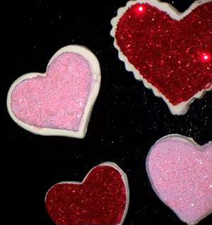 Fake Heart Sugar Cookie Magnets Pink Red Glittery