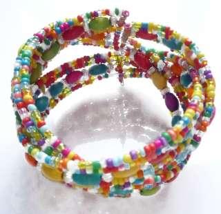 Fashion Multi Color Acrylic Beads Stretch adjustable Bracelet Bangle