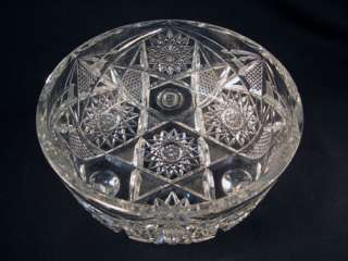 Vintage ABP American Brilliant Period Cut Glass Footed Crystal Bowl