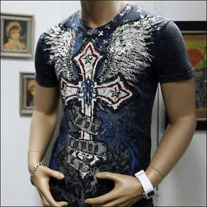 KAYDEN.K DESIGN QUALITY FIT T SHIRT CROSS WINGS STONE GOTHIC ROCK MMA