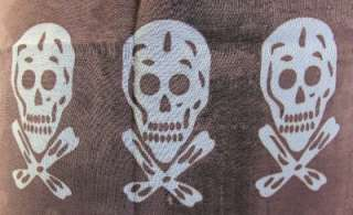 Sarong Coverup Brown Skull Day of the Dead Scarf Wrap Shawl Gothic