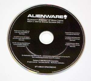 New Alienware Area 51 M9750 XP MCE RECOVERY DVD