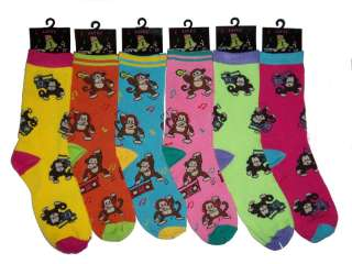 Lot of 6 Pairs Womens Quality Monkey Patterned Crew Socks   Casual