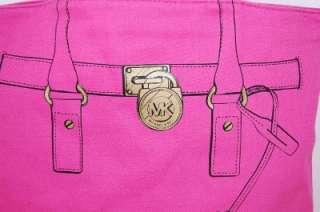 New MICHAEL KORS Hamilton Trompe Loeil Pink Tote Handbag & Cosmetic