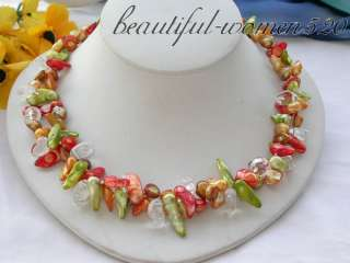 2row 19 red green yellow biwa PEARL crystal NECKLACE