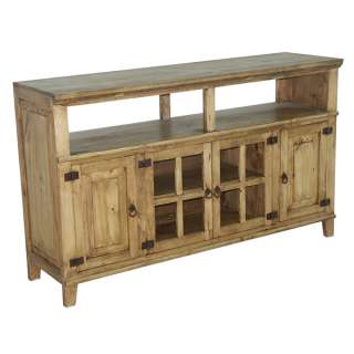 Honey Rustic TV Stand, 4 Doors,