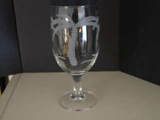 Palm Tree Water Glass Carved Crystal Stemmed