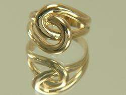 Ladies 14K Solid Yellow Gold Open Link By Pass Ring