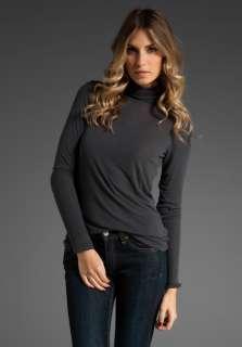 VINCE Sheer Rib Turtleneck Sweater in Grey