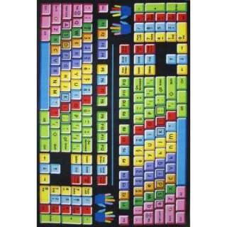 LA Rug Inc. Fun Time Keyboard Multi Colored 5 Ft. 3 In. X 7 Ft. 6 In