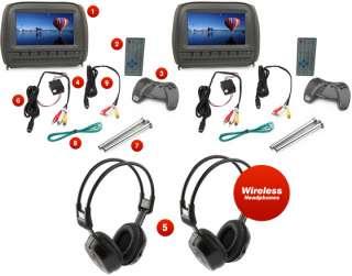 2X 9 In Car Headrest DVD Player/Monitor Twin Screen LCD