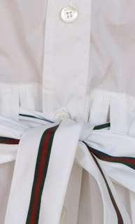 New Womens Top Shirt Blouse sz 4   40 Cotton Blend White w Belt