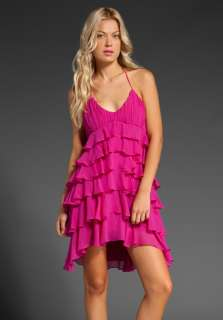 HAUTE HIPPIE Silk Ruffle Layer Dress in Azalea