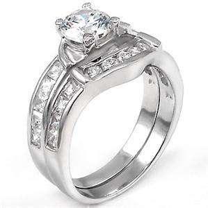 Sterling Silver CZ 27 Bridal Wedding Ring Set 5 6 7 8 9