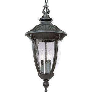 Lighting Meridian Collection Textured Black 3 light Hanging Lantern