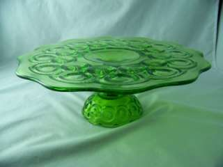 CO MOON AND STAR ANTIQUE GREEN LOW CAKE PLATE # 4202 EXCELLENT