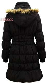 NEW LADIES QUILTED PADDED FAUX FUR HOOD LONG PARKA JACKET COAT WOMENS