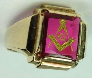MEN 10K SOLID YELLOW GOLD RUBY SHRINERS MASONIC MASON ESTATE RING