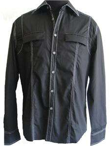 New Mens Club Party Special Occasions Black Shirt XL