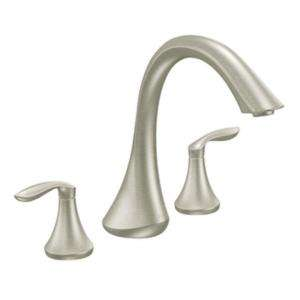 MOEN Eva 2 Handle Deck Plate Roman Tub Faucet Trim Kit in Brushed