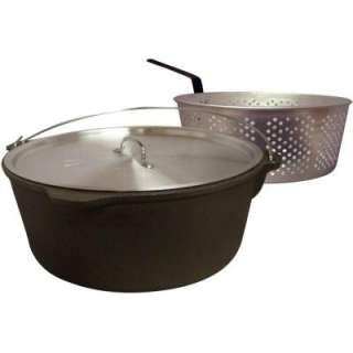 King Kooker 8.5 Qt. Cast Iron Pot With Aluminum Lid and Basket CI85B