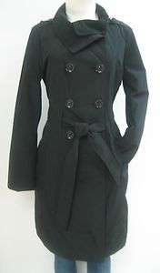 NEW! GUESS BELTED TRENCH RAIN COAT, JACKET, BLACK, SMALL, NWT, MP456