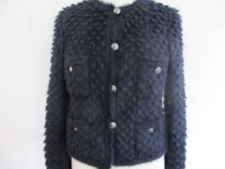 NWOT Chanel 08A Navy Mohair Blend Jacket/Sweater/Top Sz 40