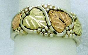 NICE ESTATE STERLING SILVER 12K BLACK HILLS GOLD GRAPE LEAF BAND RING