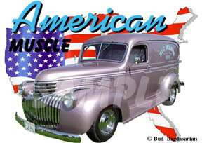 1946 Pink Chevy Panel Truck Hot Rod USA T Shirt 46