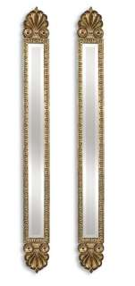 Traditional Tall Thin Gold Frame Top Wall Mirror Pair