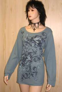 Blue Roses THERMAL KNIT TOP Shirt PLUS SIZE 1x 2x 14/16