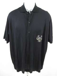 GIANFRANCO FERRE Mens Black Embroidered Shirt Medium