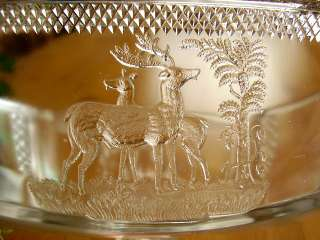 OPEN Compote Deer and Pine Tree Pattern c1886 McKee Brothers