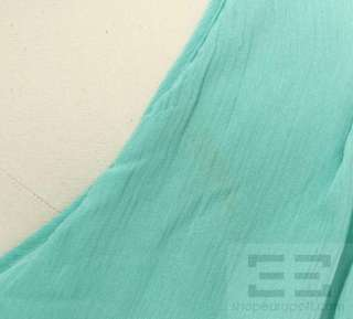 Catherine Malandrino Teal Silk Mesh Beaded Front Racerback Dress Size