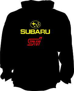 SUBARU STI SWEATSHIRT PULLOVER HOODIE S,M,L,XL,2X,3X,BLACK/YELLOW RED