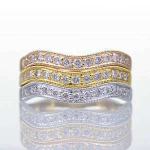 18K ROSE YELLOW WHITE GOLD TRI COLOR DIAMOND RING BANDS