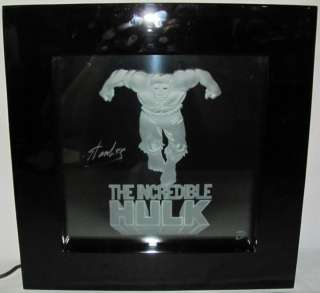 Hand Signed Stan Lee The Incredible Hulk Etched Art Glass Light Up