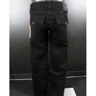 Mens TRUE RELIGION Jeans RICKY SUPERFLY Straight Leg in SOLID BLACK