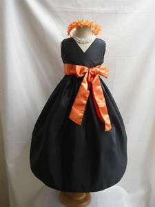 BLACK ORANGE PAGEANT WEDDING FLOWER GIRL DRESS 1   14
