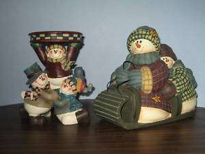SNOWMAN CHRISTMAS CANDLE HOLDER AND DECORATION